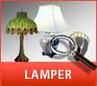 Lamper & Belysning - Tiffany lamper, Uplight lamper, Kinesiske porcelænslamper, David Marshall Lamper mm.